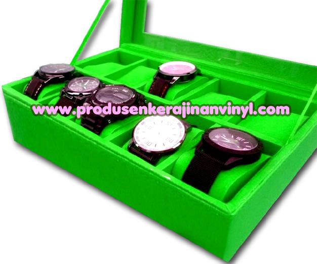 toples set unik kerajinan box jam 10 pcs warna hijau tas mendong
