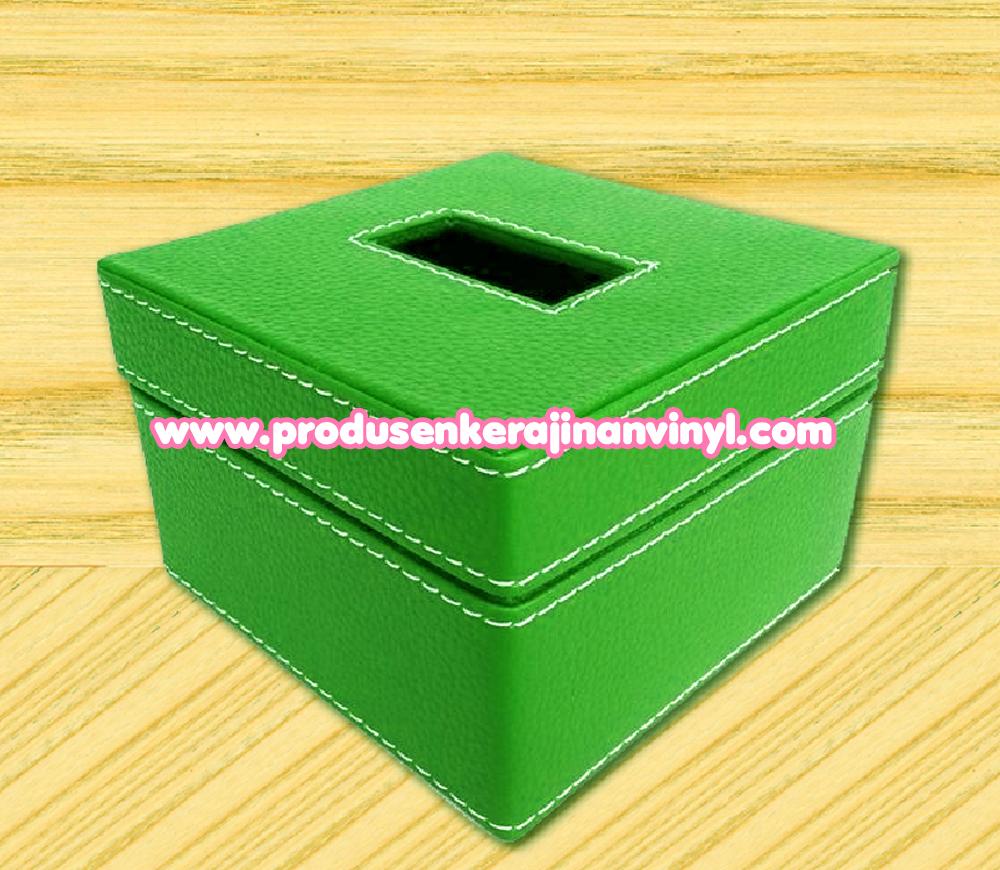 kerajinan kain vinyl toples kerajinan box tisu kecil warna hijau grosir tas tikar murah