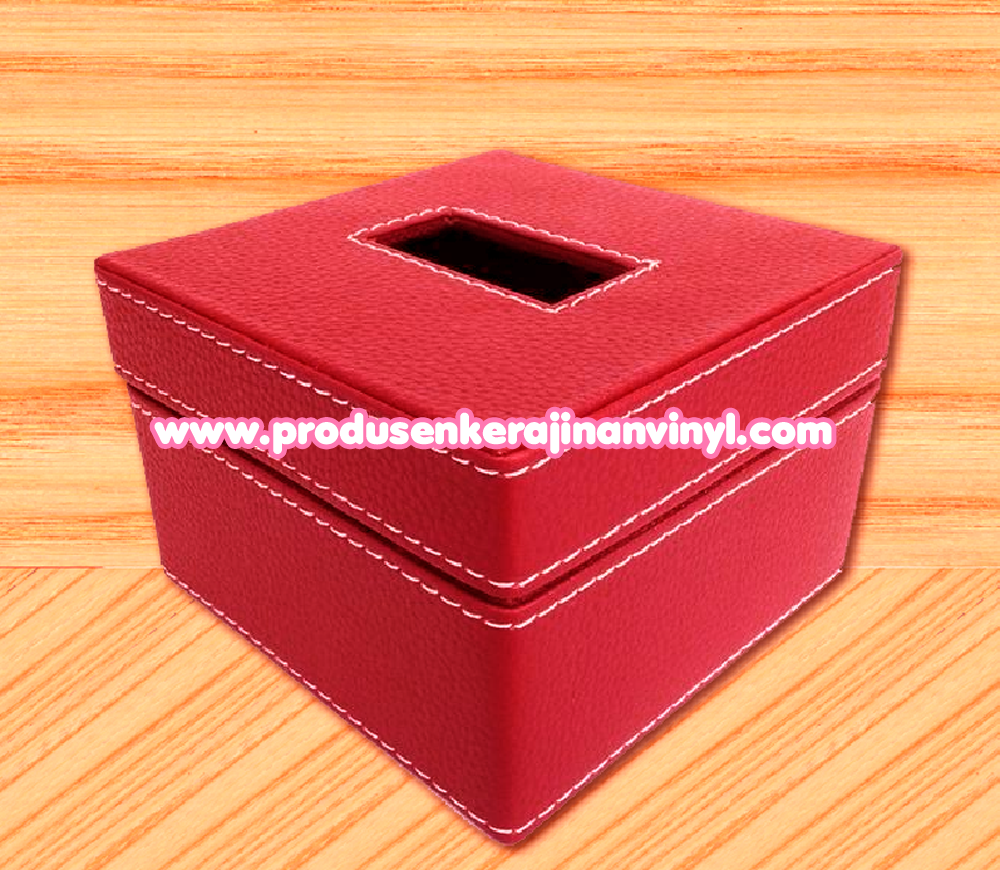 grosir toples vinyl kerajinan box tisu kecil warna merah kerajinan vinyl terbaru