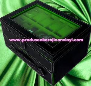 kerajinan-vinyl-box-jam-tangan-isi-24-pcs-hitam-dan-hijau