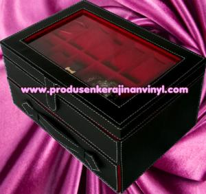 kerajinan-vinyl-box-jam-tangan-isi-24-pcs-hitam-dan-merah