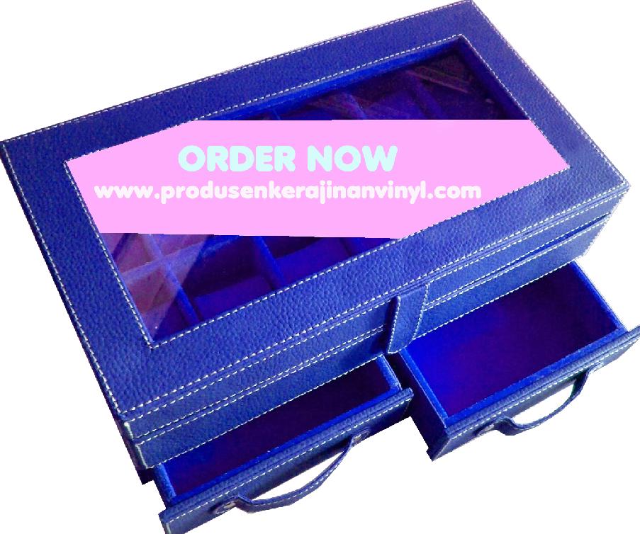 Kerajinan Vinyl Box Jam Tangan Bertingkat Dengan Laci Hijau Biru Dongker