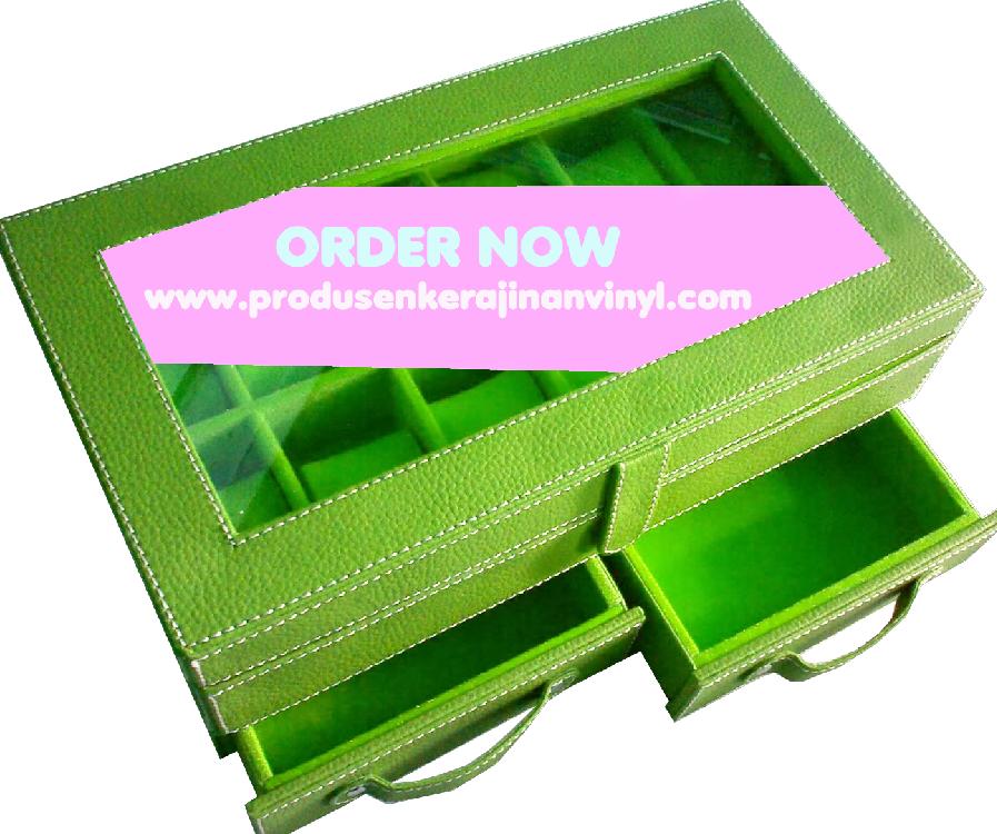 kerajinan-vinyl-box-jam-tangan-bertingkat-dengan-laci-hijau-pupus