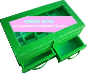 kerajinan-vinyl-box-jam-tangan-bertingkat-dengan-laci-hijau-tua