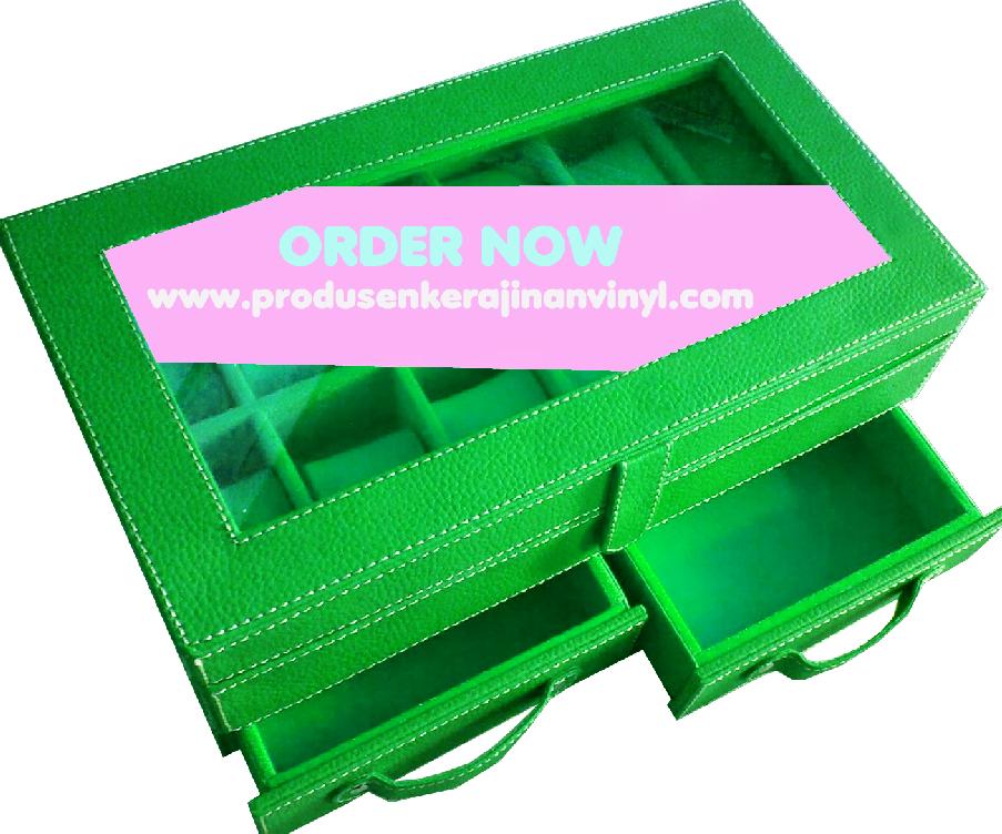 cara membuat kerajinan dari kain vinyl beserta gambarnya kerajinan vinyl box jam tangan bertingkat dengan laci hijau tua tas tikar terbaru