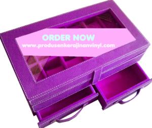 kerajinan-vinyl-box-jam-tangan-bertingkat-dengan-laci-hijau-ungu