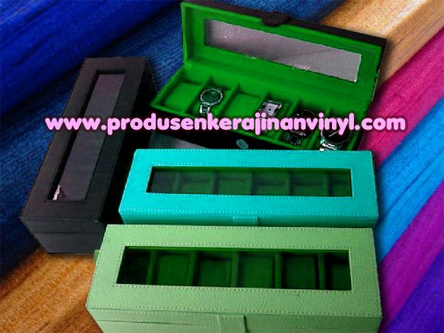 Kerajinan Vinyl Box Atau Kotak Jam 6 Pcshitam Hijau Dan Tosca