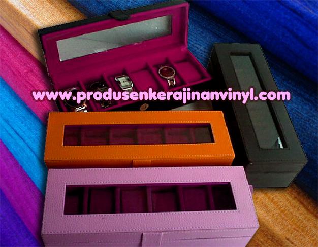 Kerajinan Vinyl Box Atau Kotak Jam 6 Pcshitam Orange Dan Pink