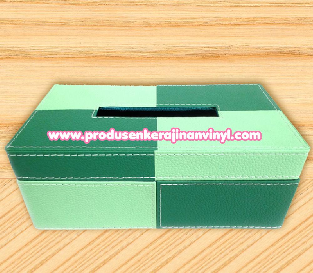 bahan vinyl sticker kerajinan vinyl kotak tisu dua warna hijau pastel tas kulit sukaregang garut
