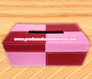 kerajinan-vinyl-kotak-tisu-dua-warna-merah