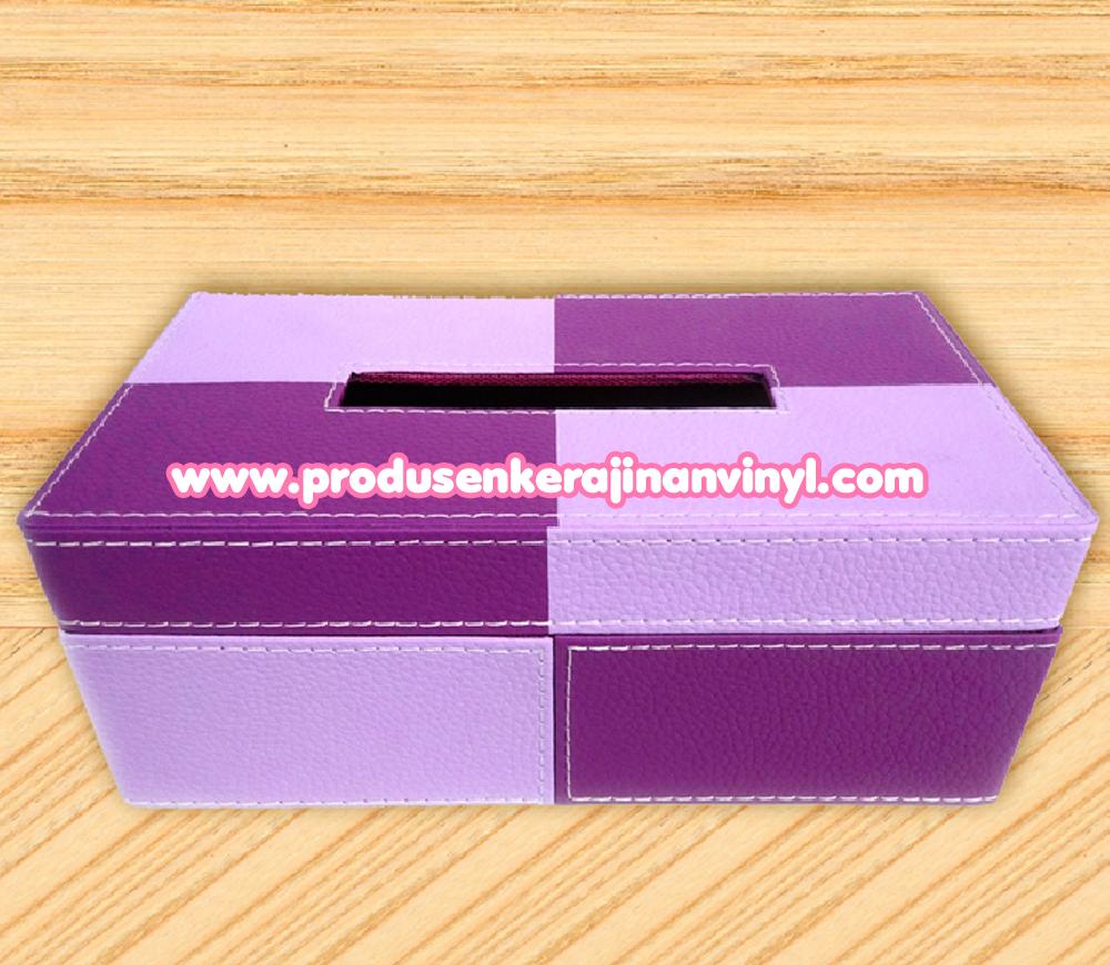 kerajinan tangan dari toples plastik kerajinan vinyl kotak tisu dua warna ungu kerajinan vinyl unik