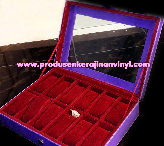 Kerajinan Vinyl Box Jam 12 Pcs Lusinan Biru Merah