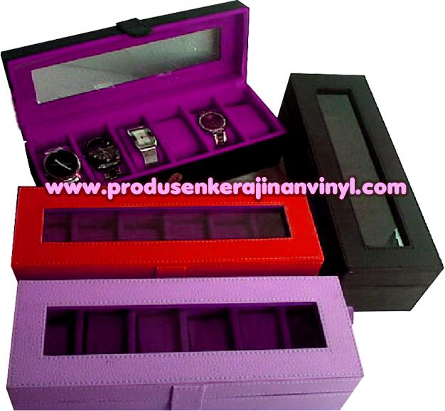 Kerajinan Vinyl Box Atau Kotak Jam 6 Pcshitam Merah Dan Ungu