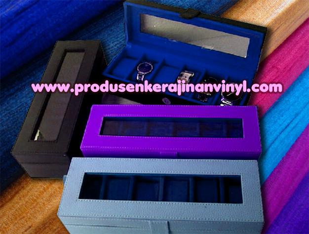 Kerajinan Vinyl Box Atau Kotak Jam 6 Pcshitam Biru Dan Ungu