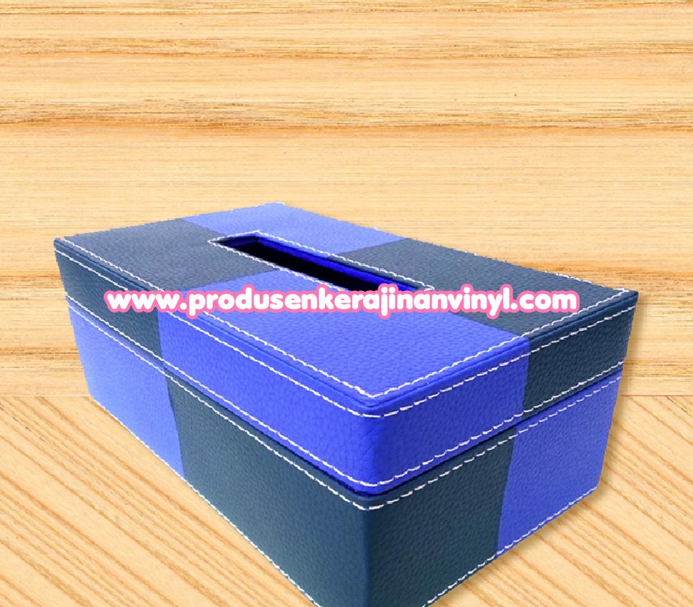 Kerajinan Vinyl Kotak Tisu Dua Warna Biru Tua