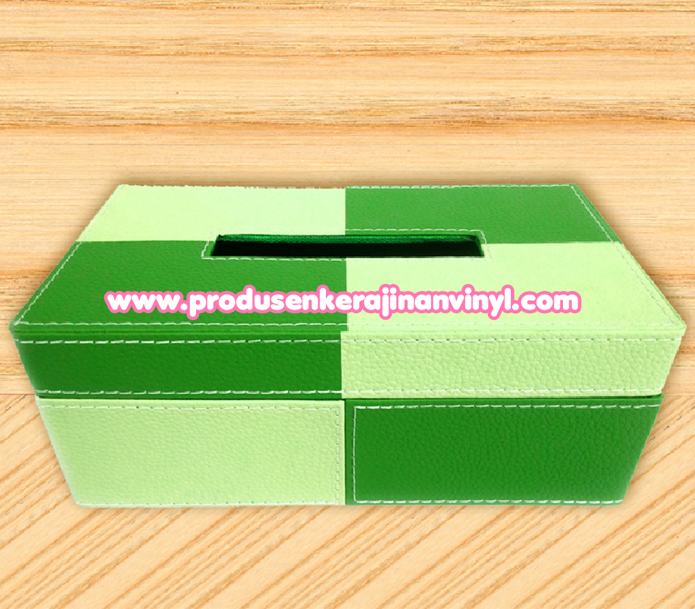 Kerajinan Vinyl Kotak Tisu Dua Warna Hijau